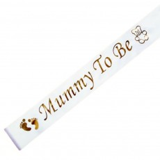 'Mummy To Be' Sash (White and Gold)